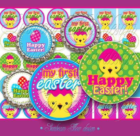 "INSTANT DOWNLOAD - Sale 50% off 1"" Circles & Squares 4x6 Happy Easter 01 Bottle cap Hair bow centers Glass Resins Stickers Print Your Own"