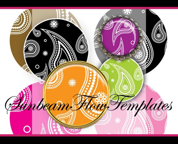 """INSTANT DOWNLOAD - 1"""" Circles 4x6 Paisley 01 JPG pink blue purple green Bottle cap Hair bow Glass Resin Stickers Cards Hangtags pyo diy"""