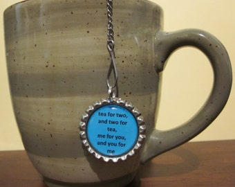 "Tea Infuser with Bottle Cap Charm - tea for two - 2"" Mesh Ball"