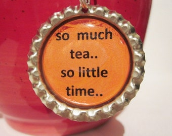 "Tea Infuser with Bottlecap Charm 2"" Mesh - so much tea - Tea Ball - Tea Strainer"