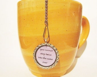 Tea Infuser - Handmade Bottle Cap Charm - river stepping - with 2 Inch Mesh Tea Ball