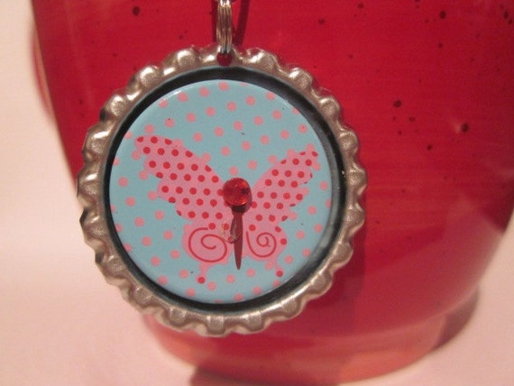 Tea Infuser with butterfly Charm -2 Inch Mesh Tea Ball - OOAK