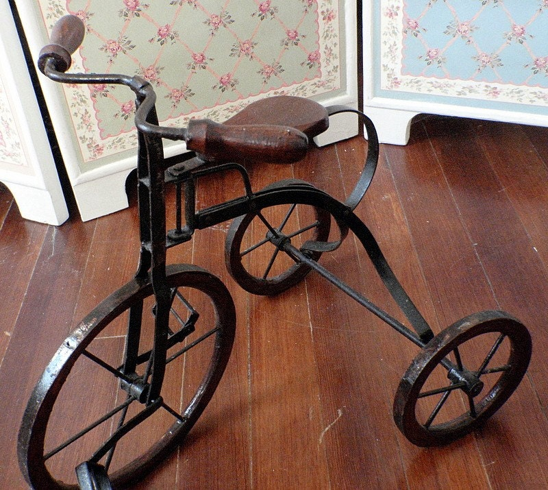 Vintage Tricycle Wheels : Vintage wooden toy tricycle antique doll replica decor