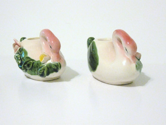 Vintage swan candle holders set of 2 pink roses green leaves