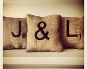 Set of Three Handmade Burlap Scrabble Tile Initial Pillows - 2 letters and an ampersand - 6'x6'