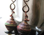 RESERVED - Recycled Paper, Black Disks and wire-twisted Copper Barbells