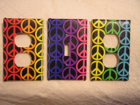 Light Switch Plate/Outlet Covers with Groovy Peace Sign