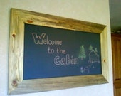 Large Natural Stained Wooden Chalk Board