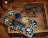 wood cash register drawer - divided storage - removable tray -  vintage industrial