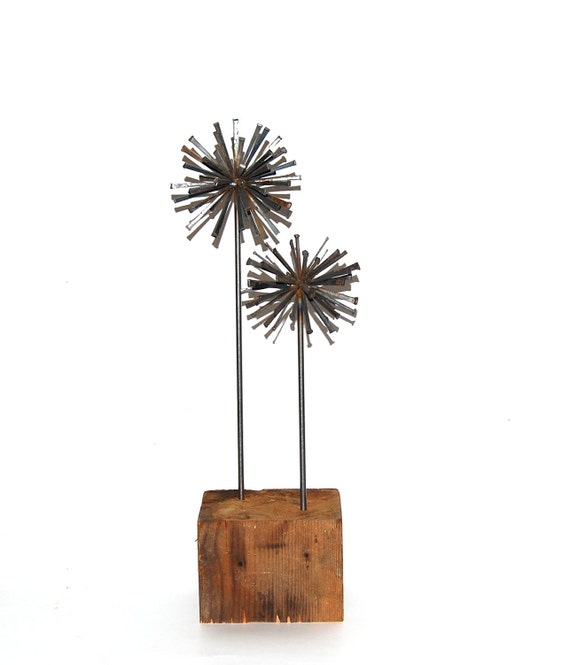 steel sphere sculpture  - tabletop sculpture - rustic modern wedding - eco wedding decor -  indoor garden -  industrial art - atomic