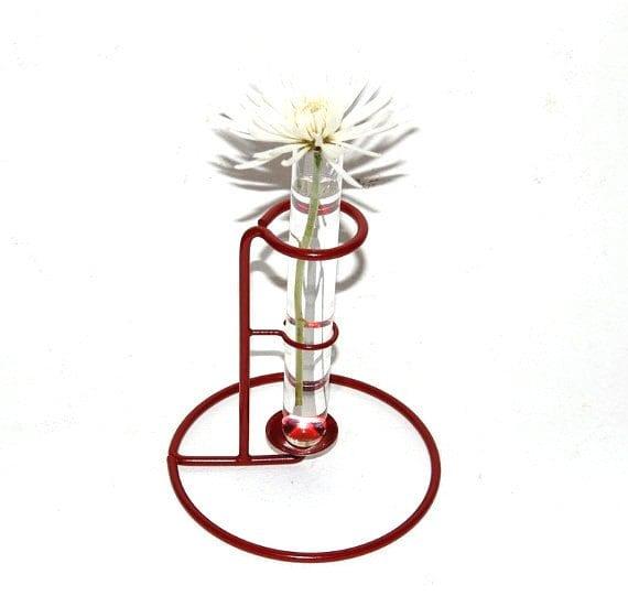 Test tube bud vase vintage wire stand upcycled steel by for Test tube flower vase rack