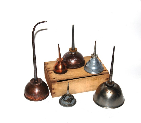 vintage oil can collection - set of 6 - Eagle -copper - brass - rustic - farmhouse