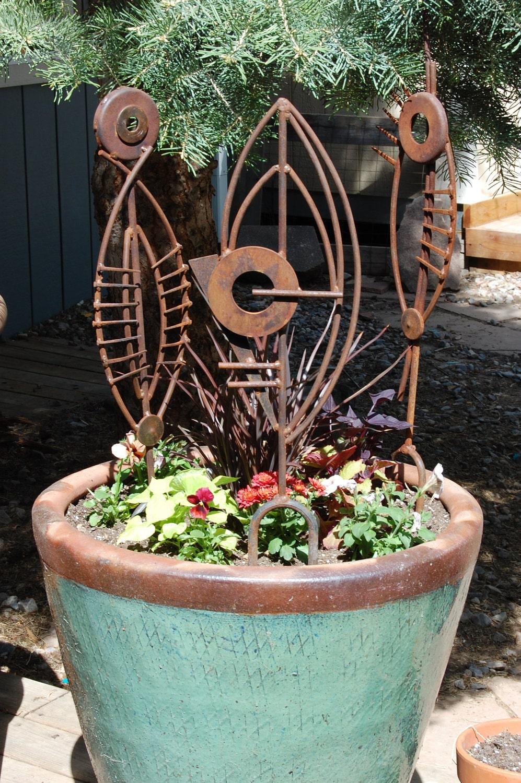 Metal garden sculpture abstract art plant stake