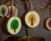 Wooden Ornament Happy Tree Collection Set of 6
