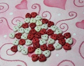 miniature heart buttons for doll clothes 50pcs - red and white - 2 hole  5mm