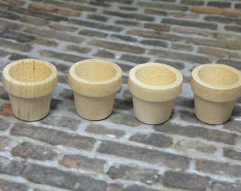 Dollhouse Miniature plant pots 4 pcs unfinished wood garden supplies DIY planter flower container works in multiple doll scales