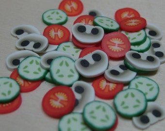 DIY dollhouse miniature salad polymer clay cane slices tomato cucumber mushroom 45pcs