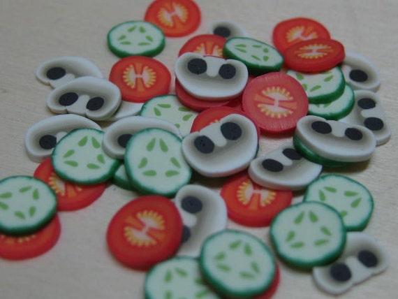 DIY dollhouse miniature salad polymer clay cane slices tomato cucumber mushroom 45pcs