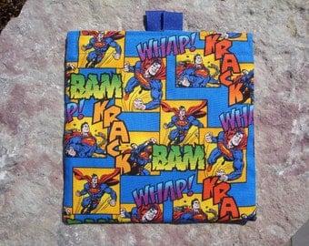 Superman Reusable Sandwich Bag, Reusable Snack Bag, Washable Treat Bag with easy open tabs