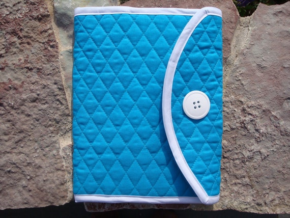 Aqua- Quilted Journal Cover or Bible Cover