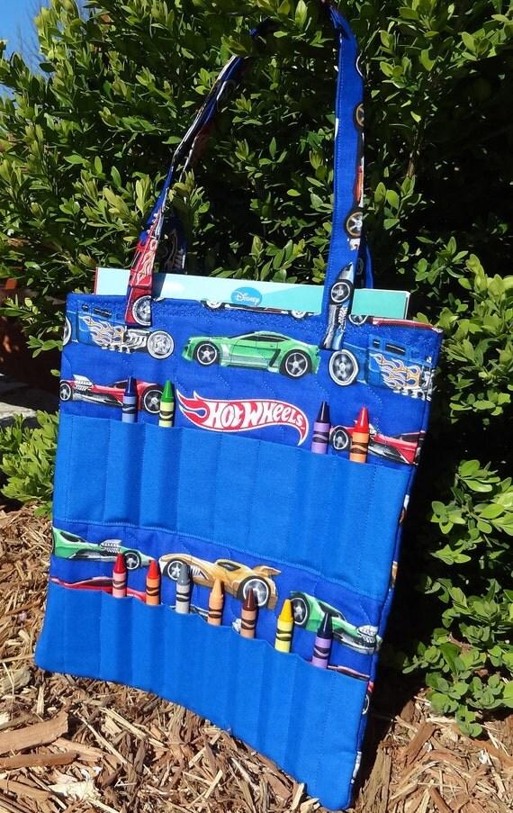 Hot Wheels- Large Crayon and Coloring Book Bag