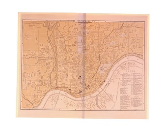 Antique 1896 Map of Cincinnati