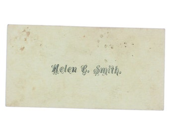 Antique Calling Card, Helen C. Smith - Stunning Typography