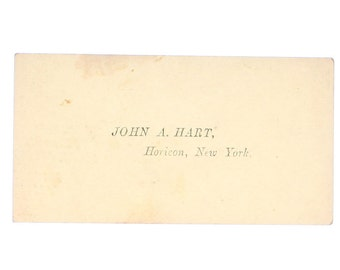 Antique Calling Card, John A. Hart of Horicon New York