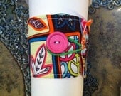 50% OFF CLEARANCE -  Coffee Cozy Sleeve Eco Reversible Bright Orange Pink Fabric
