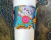 50% OFF CLEARANCE - Coffee Cozy Sleeve Eco Reversible Bright Spring Blue Brown White Fabric Eco