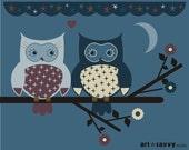 "8"" x 10""  - open ended print - Original Digital Illustration - ""Moonlight kiss"""