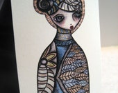 "Matryoshka inspired print - ACEO - Print of Original Illustration - Colored Pencil and Ink - ""Bliss"""