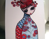 "Hand Illustrated Matryoshka Inspired ACEO Print - ""Growth"""
