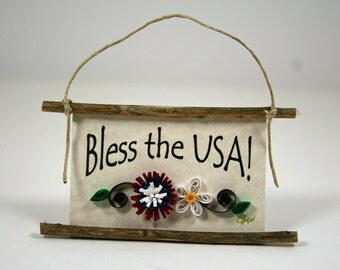 Paper Quilled Magnet 83- Bless the USA, Patriotic Ornament, Party Favor, 3D Quilling, Bless America Ornament, Red White Blue Paper Flowers
