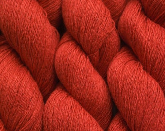 Recycled Yarn, Burnt Orange Lace Weight Silk Cashmere, 741 yards