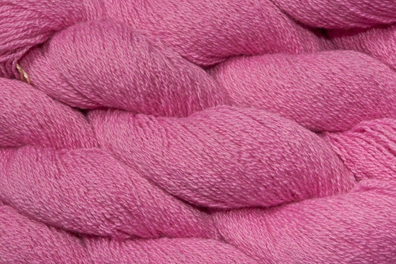 Heavy Lace Weight Recycled Cashmere Yarn, Hot Pink Ply Cashmere, Heavy Lace Weight Cashmere, 794 Yards Total Available, Bubble Gum Pink Two
