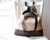SALE %  75 EURO instead of 89 EURO Tote bag copper linen / shiny dark brown leather