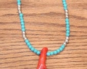 Red Branch Coral Necklace with Blue and Black Beads and Silver Metal Beads  (NE-72)