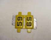 SALE! 1959 South Dakota License Tabs, Yellow with Black Numbers Brand New Never Used