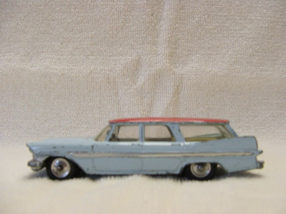 1959 Corgi Plymouth Suburban Sports Wagon Car Number 219 Blue and Red Made in Great Britain FREE Shipping in the USA