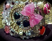 bedazzled BLING kawaii cuff featuring girly skull