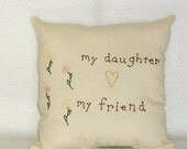 Pillow Stitchery Original Design Flowers Pink Yellow Flowers Hand Embroidered