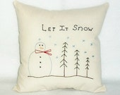 Pillow Snowman Trees Original Designed Stitchery Hand Embroidered