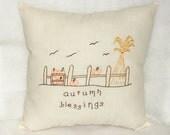 Pillow Autumn Pumpkins Stitchery Original Design Hand Embroidered