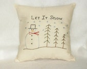 Pillow Snowman Trees Stitchery Original Design Hand Embroidered