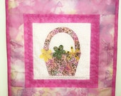 Wall Hanging Cottage Chic Quilt Springtime Flower Basket Mini