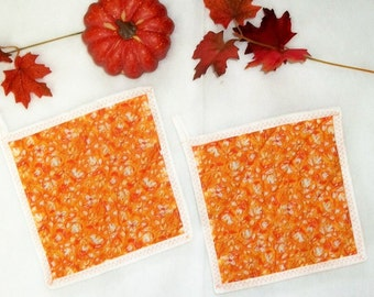 Quilted Pot Holders, Autumn Orange Leaves, Kitchen Decor, Hot Pads, Coasters, Fall Kitchen, Autumn Decor, Padded Potholders, Set of 2