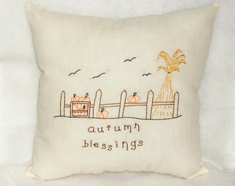 Autumn Pillow, Pumpkins Stitchery, Original Design, Hand Embroidered, Primitive Pillow, Folk Art, Fall Decor, Cushion, Cottage Chic, Autumn