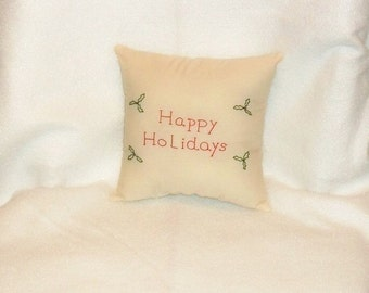 Christmas Pillow, Christmas Decor, Holiday Decor, Original Design, Holly Stitchery, Hand Embroidered, Primitive Pillow, Cottage Chic Decor