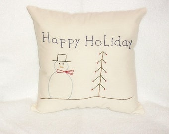 Snowman Pillow, Christmas Pillow, Tree, Holiday Decor, Original Design, Hand Stitched, Cottage Chic, Cushion, Primitive Pillow, Folk Art